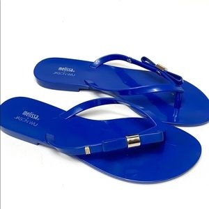 Melissa x Jason Wu blue jelly bow flip flops